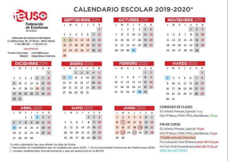 Calendario Escolar Madrid 2019 Y 2020.Federacion De Ensenanza De Uso Calendario Escolar Curso